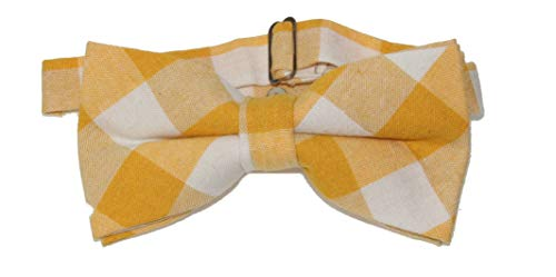 Men's Yellow & Off White Gingham Checkered Pre-Tied Adjustable Bow Tie ()