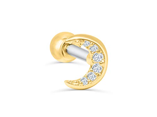 ONDAISY 14K Gold Plated Simulated Diamond Cz Planet Half Crescent Sailor Luna Moon Ear Barbell Ball Stud Earring Piercing (14k Gold Crescent Pin)
