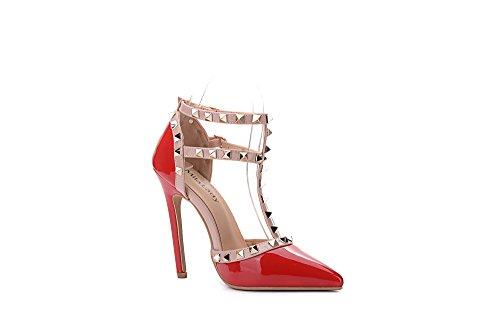 Mila Dame Ether08 To -tone Patent Strappy Ankelen Med Stud Eleganse  Plattform Dame Heeled Pumper ...