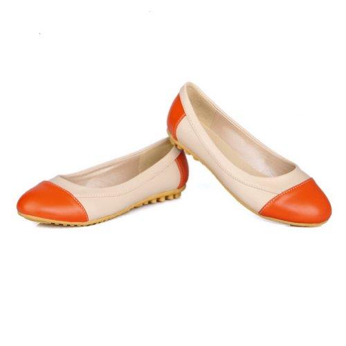 PU pour bout VogueZone009 beige Chaussures rond Pompes opaques en à bas givrées talon femmes fermé fqvqX