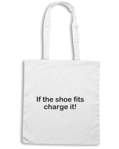 T-Shirtshock - Bolsa para la compra TDM00120 if the shoe fits charge it Blanco