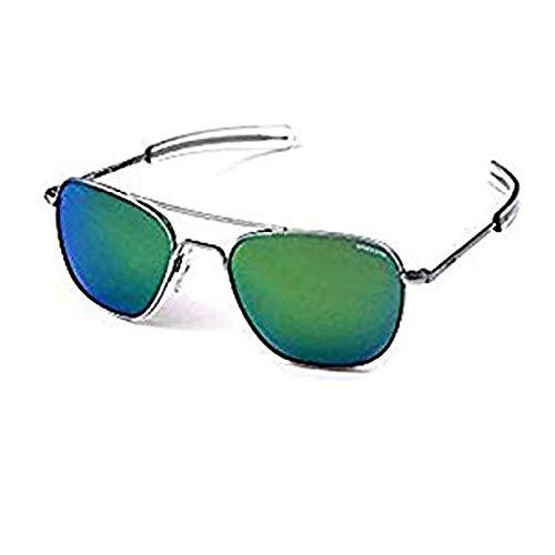 Randolph Aviator Matte Chrome Bayonet Temple Green Flash Mirror Non-Polarized Sunglasses (58mm) ()
