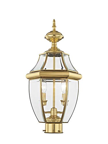 Livex Lighting 2254-02 Monterey 2 Light Outdoor Polished Brass Finish Solid Brass Post Head with Clear Beveled - Polished Post Brass Outdoor Large