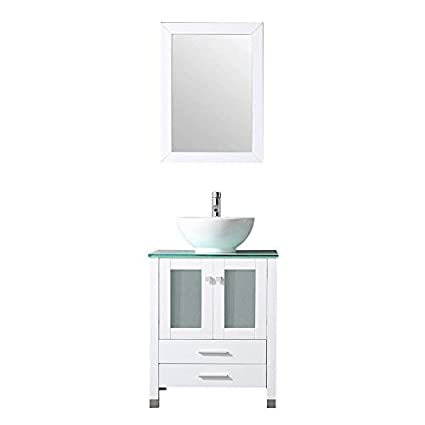 . BATHJOY 24  White Wood Bathroom Vanity Cabinet Round Bowl Ceramic Vessel  Sink Combo Countertop Sink Set Faucet Drain w Mirror