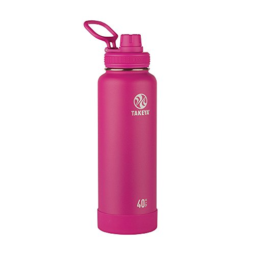 Takeya Actives Insulated Stainless Water Bottle with Insulated Spout Lid, 40oz, Fuchsia