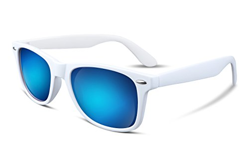 (FEISEDY Great Classic Polarized Sunglasses Men Women Mirrored HD Lens White-Blue)
