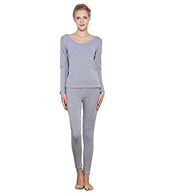 Liang Rou Women's Round Neck Thermal Long Johns Underwear Set