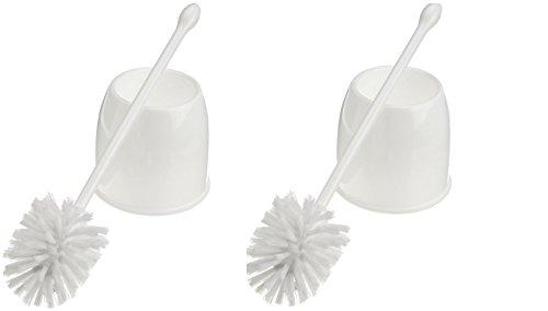 Casabella Toilet Bowl Brush with Holder Set, White Set Of 2