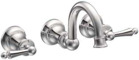 Moen TS416 Waterhill Two-Handle Wall Mount Bathroom Faucet, Chrome