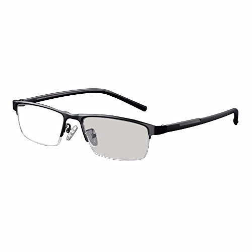Transition Lens Sunglasses - Transition Photochromic Reading Glasses Pocket Reader Metal Frame with Case Farsighted UV400 Sunglasses +1.0 to +4.0 (+1.00, black)