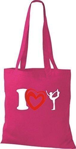 ShirtInStyle La bolsa de asas Bolsa de algodón I Love Yogo Yoga Sport Gimnástico - fucsia Fucsia