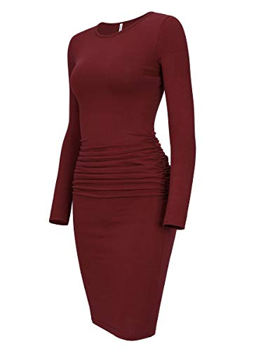 Laughido Women's Long Sleeve Casual Ruched Sundress Sheath Knee Length Bodycon Dress (Burgundy, X-Large)
