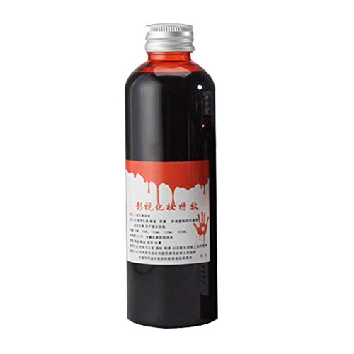 Shan-S Fake Blood of 1 Bottle, Halloween Makeup Realistic Fake Blood Gel Tube Horror Fancy Dress Costume Party Red Non-Toxic Easy to Clean, Horror Vampire Simulation, Halloween Party Props