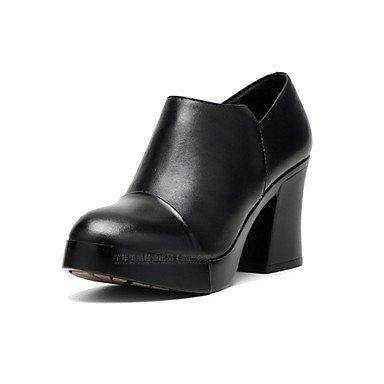 Zapatos Robusto Formales Primavera Negro ggx Mujer 12 Tacón Otoño Cuero Más Black Tacones Casual Y Cms Lvyuan wIvtqpq