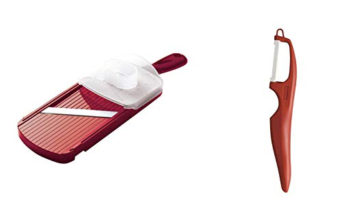 Kyocera Red Adjustable Mandoline Slicer and Red Vertical Double Edge Blade Peeler ()
