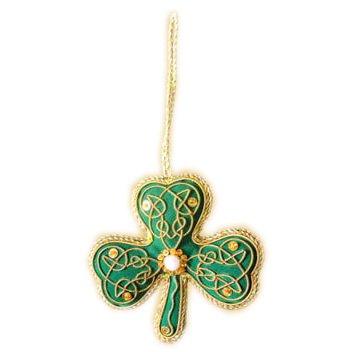 Green Shamrock Shaped Hanging Christmas Decoration With Gold Celtic Needlework Tree Shaped Pewter Ornament