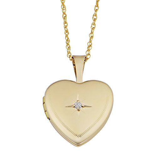 Kooljewelry 10k Yellow Gold Heart Locket with Diamond Accent On Rope Chain Necklace (18 inch)