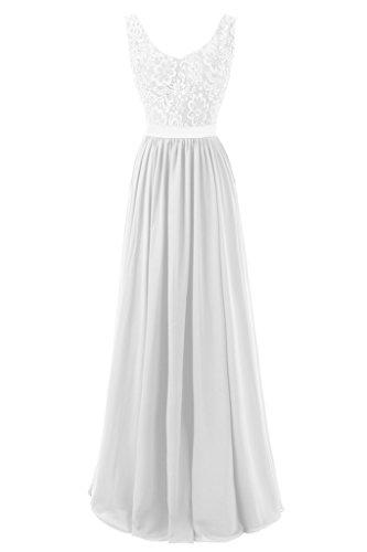 Dresstore Women's V Neck Beaded Prom Evening Dress Lace Bridesmaid Formal Dress White US 24Plus