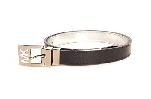 MICHAEL Michael Kors Women's 25mm Reversible Belt with MK Cutout Buckle Black/Silver (Metallic Reversible Belt)
