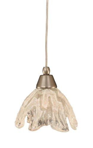 Toltec Lighting 22-BN-759 Cord Mini-Pendant Light Brushed Nickel Finish with Italian Ice Glass, 7-Inch