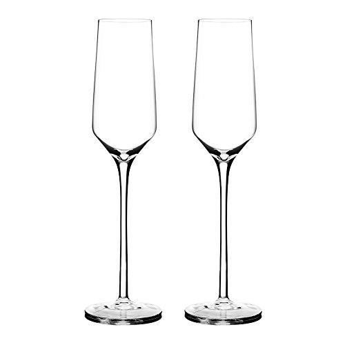 Triangle Hand Blown Lead-free Crystal Champagne Flutes Set of 2, Wedding Champagne Toasting Glasses Gift Set, 8.5 oz, Extra Long Stem Wine Glasses, Dishwasher Safe ()