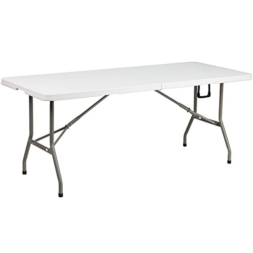 Flash Furniture 30''W x 72''L Bi-Fold Granite White Plastic Folding Table by Flash Furniture