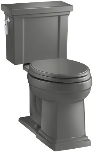 KOHLER K-3950-58 Tresham Comfort Height Two-Piece Elongated 1.28 GPF Toilet with AquaPiston Flush Technology and Left-Hand Trip Lever, Thunder Grey