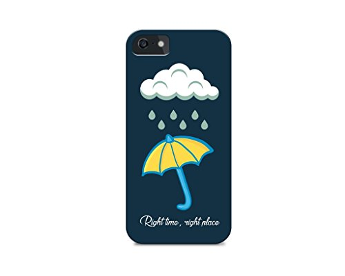 iPhone 5C - Hard Plastic Case - Cover ALL Sides - Right Time Right Place - Umbrealla - Quotes - Rain - Fun Quotes - Quotes Iphone Case
