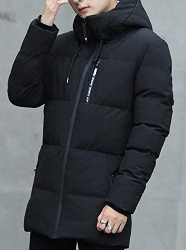 ARTFFEL Mens Winter Thermal Fleece Lined Hoodie Quilted Jacket Parka Coat Outerwear