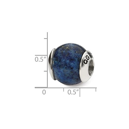 (Solid .925 Sterling Silver Reflections Lapis Stone Bead 10.91 mm)