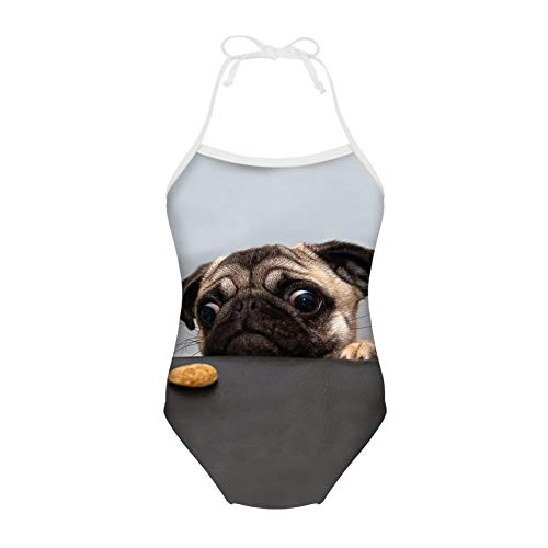 HUGS IDEA Cute Pug One Piece Swimsuit Infant Baby Girls Bathing Suit Kids Monokini Beachwear