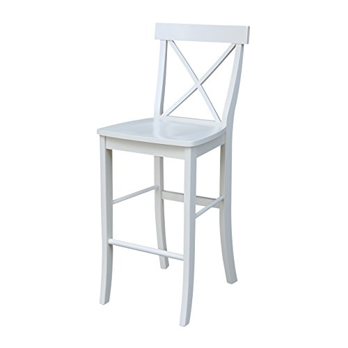 International Concepts S31-6133 X- Back Barheight Stool, 30-Inch SH, Linen White