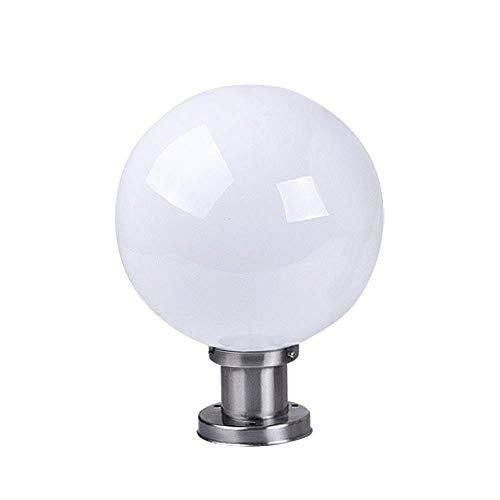 Modern Stainless Steel Post Lighting Spherical E27 Column Lights Outdoor Waterproof Community Apartment White Acrylic Ball Shade Lanterns Pillar Lamp (Size : 3040cm)
