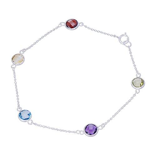 (Caratera Fine Gold Jewelry Women's Colorful Rarity 10K Gold Bezel Set Genuine Gemstones Semi-Precious Bracelet)