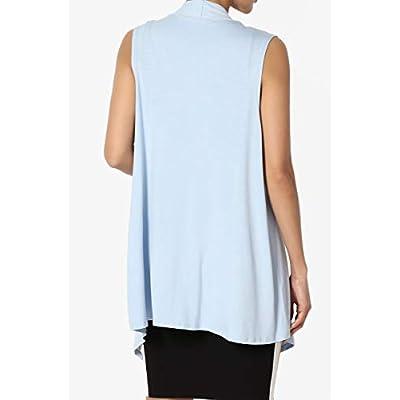 TheMogan Sleeveless Waterfall Jersey Cardigan Lightweight Draped Layering Vest at Women's Clothing store
