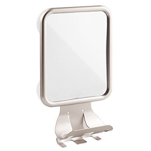 InterDesign Forma Suction Bathroom or Shower Shaving Mirror with Shaving Cream and Razor Holder  - Satin