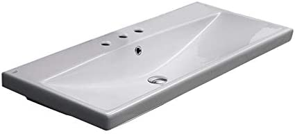 CeraStyle 032200-U-Three Hole Elite Rectangle Ceramic Wall Mounted Self Rimming Sink, White