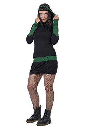 Vetements Poignets Femme Femmes Robe Steampunk Noir Manche Capuchon Fonce L Robes À De Avec Longue Gothique Vert 3elfen Été tZwzqW77