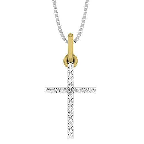 0.05 Carat (ctw) 18K Yellow Gold Round Diamond Ladies Cross Pendant (Silver Chain ()
