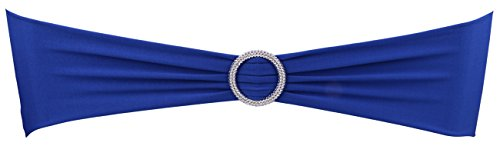 DriewWedding 50-Piece Elastic Slider Wedding Chair Sashes Bow Bands with Round Buckle Reception Banquet Party Decoration Events Supplies (Blue)