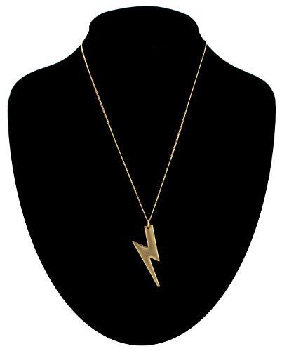 Gold Tone Necklace Lightning Bolt Pendant 18