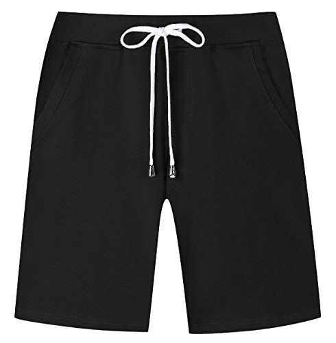- Janmid Men's Casual Classic Fit Cotton Elastic Jogger Gym Shorts Black XL
