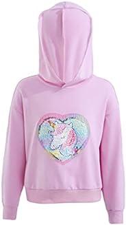 LiiYii Kids Girls Toddlers Rainbow Striped Hoodie Sweatshirt Long Sleeves Cartoon Pullover Tops with Pockets