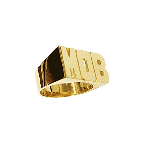 Silver N Style Lee127M-14K 8.5mm 14K Gold Medium Block Letter Plain Name Ring (yellow-gold, 11)