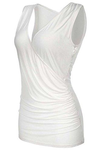 - JQstar Women's Casual V-Neck Sleeveless Blouse Side Shirred Tops Stretch Slim Tank Tops (XXL, White)