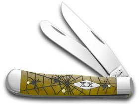 CASE XX Antique Bone Woodland Spiders Stainless Trapper 1/500 Pocket Knife - Woodland Spider