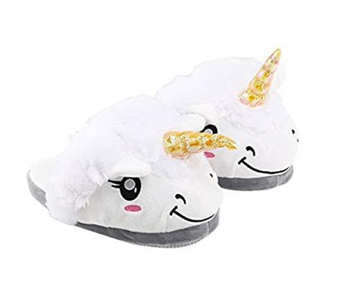 41 Pantoufles Nouveauté Européenne Slippers Animal Chaussons Cadeaux Adulte Taille Noël Enfant Festival Licorne 36 Chaussures Peluche VineCrown White UW48wqZ4
