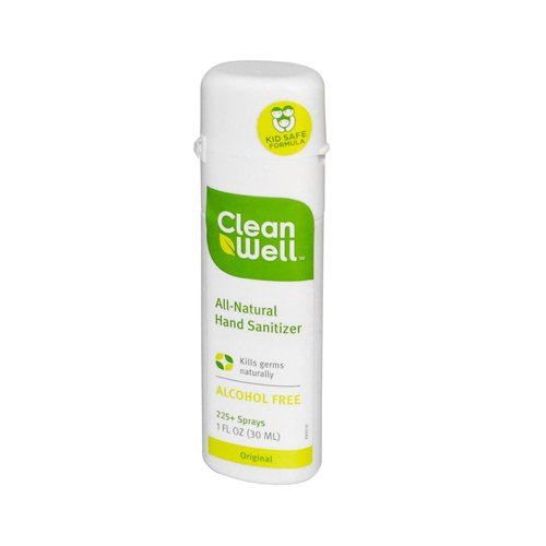 (CleanWell All-Natural Hand Sanitizer Spray Alcohol-Free - 1 fl oz - Case of 24)