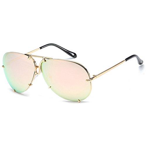 moda las hombres de mujeres y los para el la sol metálico de clásicas Dorado marco Gafas Rosa de Yefree 84FqYY