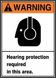 Warning Hearing Protection - WARNING HEARING PROTECTION REQUIRED IN THIS AREA (W/GRAPHIC) Sign - 14